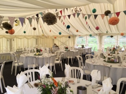 A marquee in the grounds for a wedding breakfast